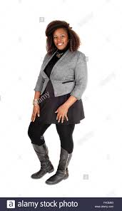 a full body picture of a young african american woman in a black