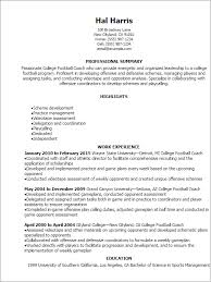 Template For A Professional Resume Professional College Football Coach Resume Templates To Showcase