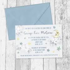boys baby blue christening invitations marble stars moon clouds