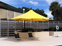 furniture yellow cantilever patio umbrella with double chairs for