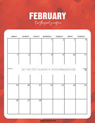 pretty free printable february 2017 calendar