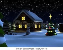 drawing christmas scene 3d rendered illustration house