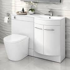 Basin And Toilet Vanity Unit 1200mm Right Hand Modern Bathroom Gloss White Basin Toilet