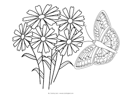 flowers and butterflies coloring pages kids coloring free kids