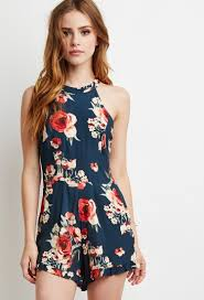 rose print cutout romper forever 21 2000115343 clothes