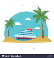 cartoon cruise ship tropical beach palm tree stock vector art