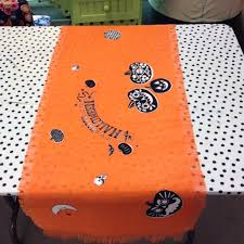 halloween polka dot background decoration halloween party table runner with lace trim 13x70