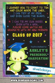 kindergarten graduation announcements custom owl preschool graduation printable invitations graduation