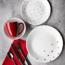 Corelle Livingware 16 Piece Dinnerware Set Winter Frost White Amazon Com Corelle Vive 16 Piece Glass Polka Dottie Dinnerware
