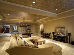exquisite basement open space luxury living room idea with cream