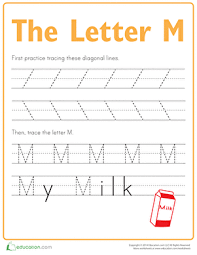 practice tracing the letter m worksheet education com