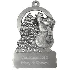 at tree engraved pewter ornament