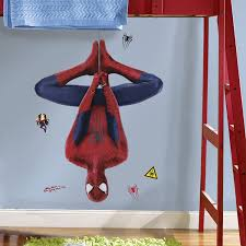 amazing spider man wall decals groovy kids gear amazing spider man web slinging peel and stick giant wall decal