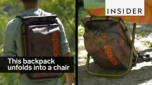 Backpack With Chair This Backpack Unfolds Into A Chair Youtube