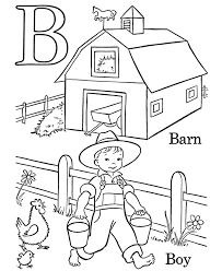 alphabet coloring pages boy and barn alphabet coloring pages of
