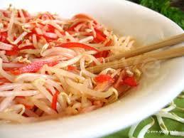 cuisiner le soja frais salade chinoise au soja au jambon et au poivron la recette