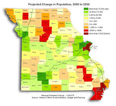 missouri map by population population projection estimates for 2030