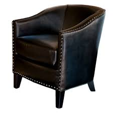 Black Leather Accent Chair Caryle Black Matte Leather Club Chair Hayneedle