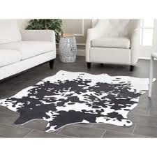 Faux Cowhide Safavieh Faux Cowhide Grey White Polyester Rug 5 U0027 X 6 U00276 Free