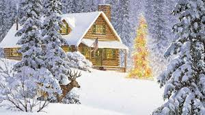 4 Christmas Tree With Lights by Winter Deep Snow Cabin Woods Winter Deer Christmas Tree Lights