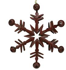 country cabin metal ornament with jingle bells