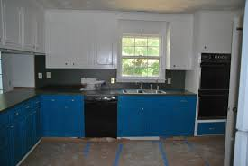 Blue Painted Kitchen Cabinets by Agreeable L Shape Blue Color Wooden Paint Kitchen Cabinets With