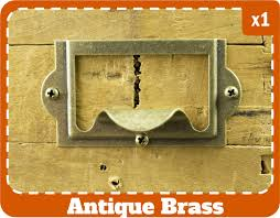 classic small drawer pull antique brass label holder with pull