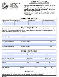 free oregon boat vessel bill of sale form pdf word doc