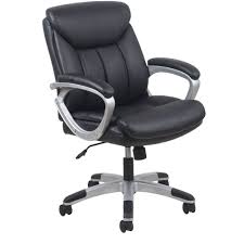 essentials by ofm leather executive office chair with arms black