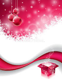 vector christmas design with magic gift box and red glass ball on