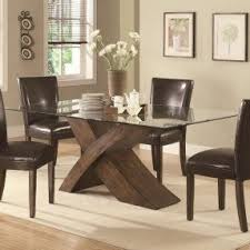Wood Base Glass Top Dining Table Foter - Dining room table glass