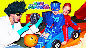 pj masks irl romeo halloween trick or treat catboy and owlette
