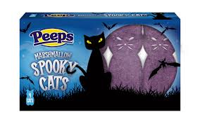 black and purple halloween background peeps adds pumpkin spice candy corn and spooky cats for halloween