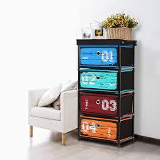 ikayaa organisateur antique style tissu 4 tiroirs accueil armoire