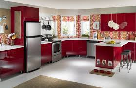 colorful backsplash and window curtains for the kitchen interior kitchen colorful backsplash and window curtains for the kitchen interior design with red cabinets and silver