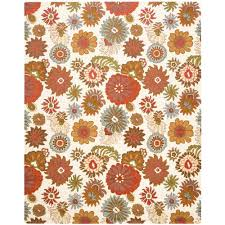 Country Style Rugs Safavieh Blossom Dark Grey Light Brown 8 Ft X 10 Ft Area Rug