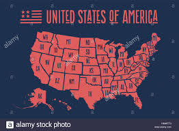 United States Map With State Names by Poster Map United States Of America With State Names Stock Vector