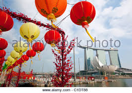 New Year Bay Decorations by Chinese New Year Decorations On Cherry Blossom Tree Stock Photo