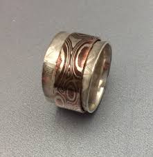 spinner rings sterling silver spinner ring with a copper and silve mokume gane