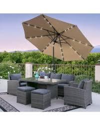patio umbrella with solar led lights hello summer 50 off bcp 10ft deluxe patio umbrella w solar led