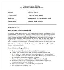 Substitute Teacher Job Duties For Resume by Job Description For Substitute Teacher Resume Professional