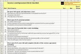 service level agreement checklist