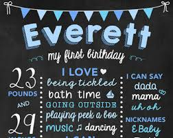 birthday chalkboard boy s birthday chalkboard sign digital blue and