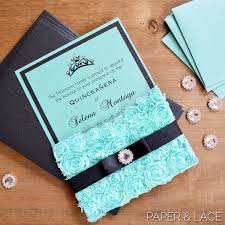 Sweet 15 Invitation Cards Rosette Quince Invitation Turquoise Lace Pocket Invitation