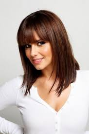 blunt fringe hairstyles shoulder length hairstyle with blunt bangs hairstyles