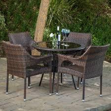del mar wicker 5 piece outdoor dining set with 34