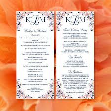 order of ceremony for wedding program printable kaitlyn wedding program template coral navy blue
