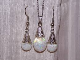 opal earring necklace set images Vintage floating opals necklace earrings set 12k gold filled in jpg