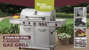 better homes u0026 gardens 6 burner gas grll with searing side burner