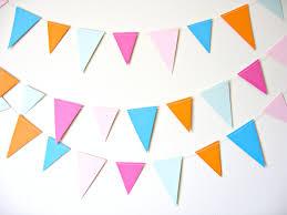 colorful flag triangle garland orange pink blue by etsypelemele